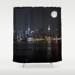 New York Supermoon Shower Curtain
