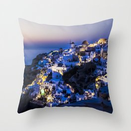 Santorini Island NightView Greece Throw Pillow
