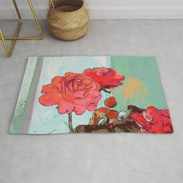 Two Roses at the window Rug