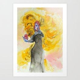 Orange magic witch Art Print