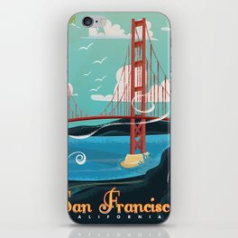 Vintage San Francisco Travel poster iPhone Skin