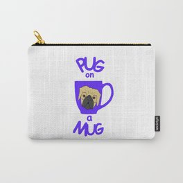 Pug On A Mug Blue Carry-All Pouch
