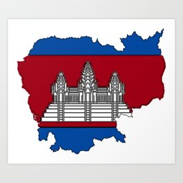 Cambodia Map with Cambodian Flag Art Print