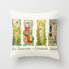 Vintage Art Nouveau - Ladies with Flowers Throw Pillow