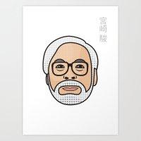 hayao miyazaki Art Prints featuring Hayao Miyazaki Portrait - White by Cedric S Touati