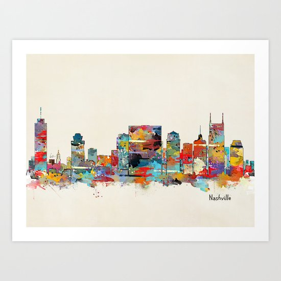 music city tennessee skyline Art Print