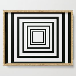 Concentric Squares Black and White Serving Tray