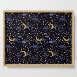 Celestial Stars and Moons in Gold and Dark Blue Serving Tray