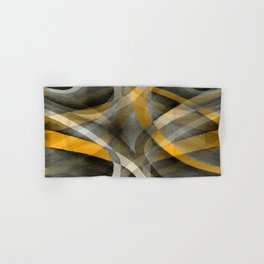 Eighties Retro Mustard Yellow and Grey Abstract Curves Hand & Bath Towel