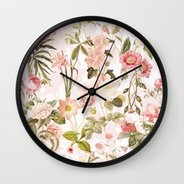 Vintage & Shabby Chic - Pink Sepia Summer Flowers Wall Clock