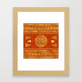 Gold Aztec Calendar Sun symbol Framed Art Print