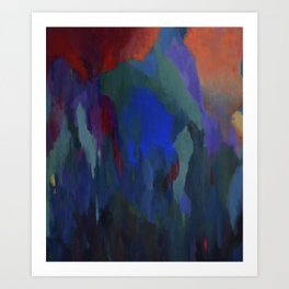 Blue Musings with Scarlet at 3 AM Art Print