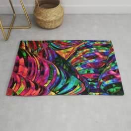 Stained Glass Jewel Tone Pattern Rug