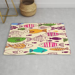 Colorful Vintage Retro Styled Illustrated Fish School Design Rug