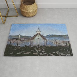 All Night Forever, Town and Cemetery by moonlight landscape by Harald Sohlberg Rug