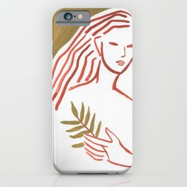 Leaves in hand (minimal portrait lady) iPhone Case