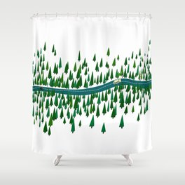 Jeju Forest Shower Curtain