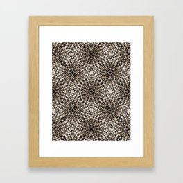 Black and Tan Geometric Modern Chrysanthemum Pattern Framed Art Print