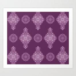 Damson Damask Pattern Art Print
