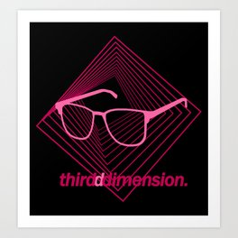 Third Dimension - Neon Laser Pink Art Print