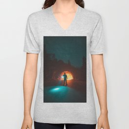 Searching The Tunnels Of Yosemite Unisex V-Neck