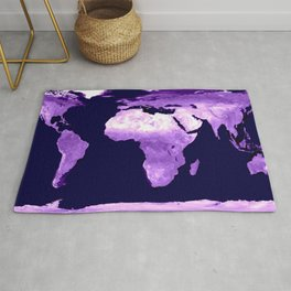 Purple World Map Rug