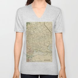 Old Map of the European Russia Unisex V-Neck