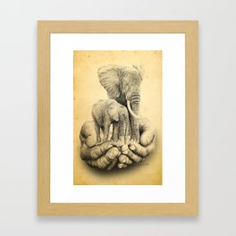 Refuge Elephants Drawing Framed Art Print