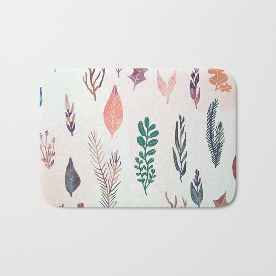 Mix of plants and watercolor leaves Bath Mat