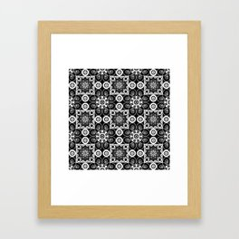 Retro .Vintage . Black and white openwork ornament . Framed Art Print