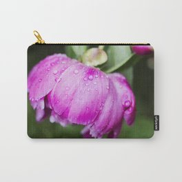 Hot Pink Peony with Raindrops 4 Carry-All Pouch