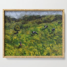 Cows /// by Olga Bartysh Serving Tray