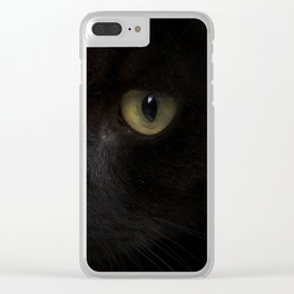 Black cat with yellow eyes Clear iPhone Case