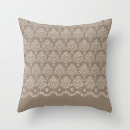 Coffee Color Damask Chenille with Lacy Edge Throw Pillow