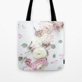 SPRING FLOWERS WHITE & PINK Tote Bag