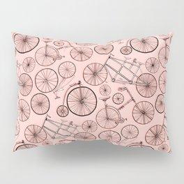 Monochroem Vintage Biycles On Coral Pink Pillow Sham