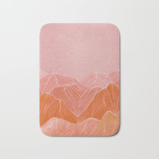 Lines in the mountains - pink II Bath Mat