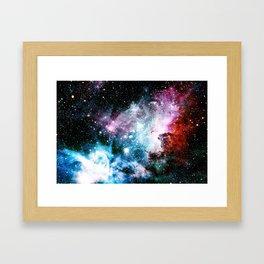 Carina Nebula : Vivid Blue Fuchsia and Red Framed Art Print