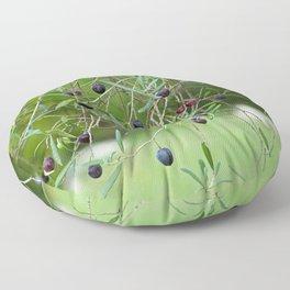 Ripe olives on tree Floor Pillow