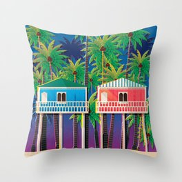 Palolem Beach Huts Throw Pillow