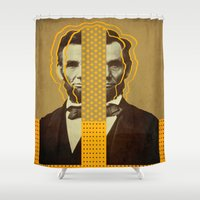 lincoln Shower Curtains featuring AbracadAbraham - Lincoln by AmDuf