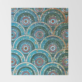 Aqua Teal Blue and Green Sparkling Faux Glitter Circles and Dots Throw Blanket