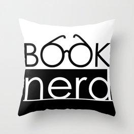Book Nerd Logo Glasses  Throw Pillow