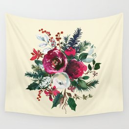 Christmas Winter Floral Bouquet No Text Wall Tapestry
