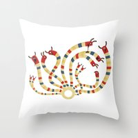 hydra Throw Pillows featuring LERNAEAN HYDRA by Villie Karabatzia