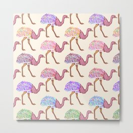 Watercolor Painted Ostrich Pattern Metal Print