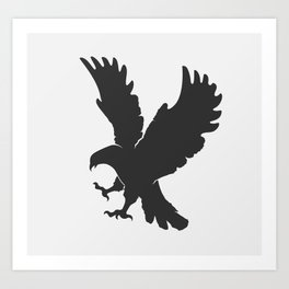 vector silhouette flying eagle on a white background Art Print