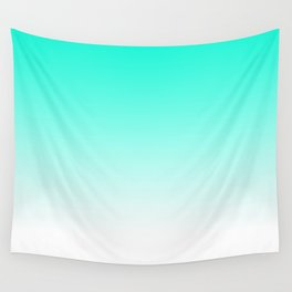 Modern bright simple mint green white color ombre gradient Wall Tapestry