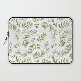 Green pink watercolor hand painted floral leaves Laptop Sleeve