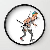 tintin Wall Clocks featuring Streetwear Tintin by Derek Boman